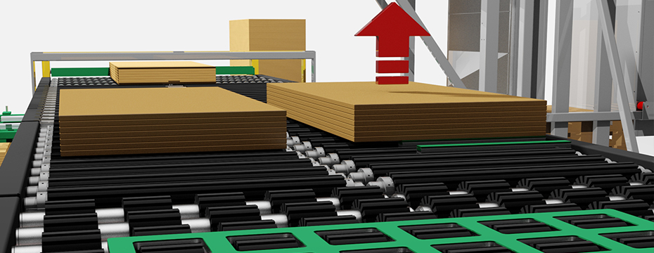 lifting from pile to roller conveyor