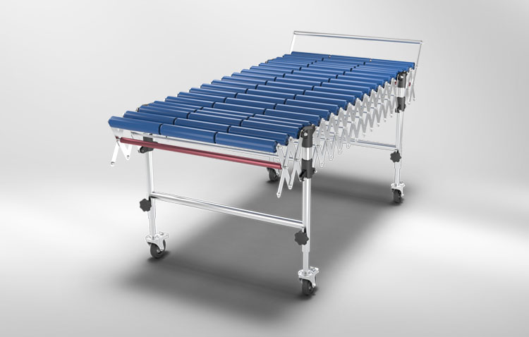 Roller conveyor blue rolls
