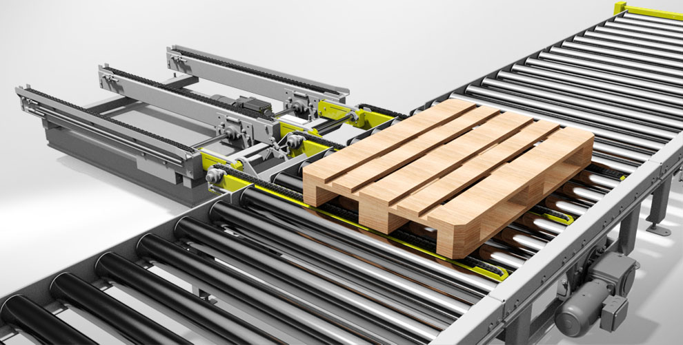 roller conveyor with pallet