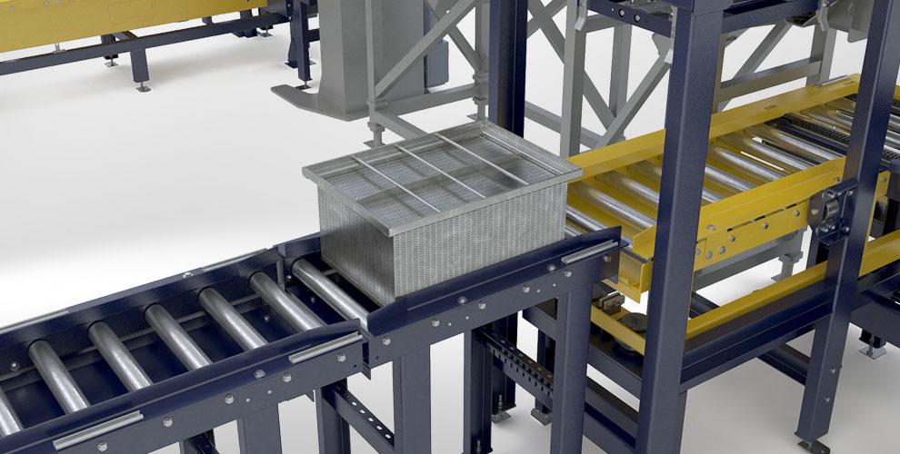 Crate lid roller conveyor