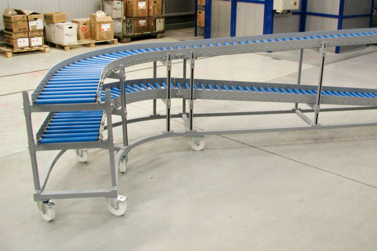 Roller conveyor blue with several levels