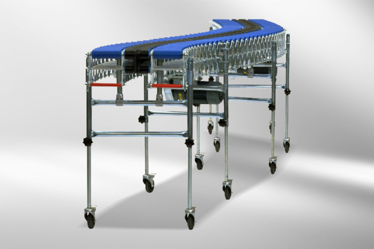 Scissor roller conveyor blue