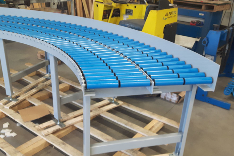 idlers on conveyor system blue