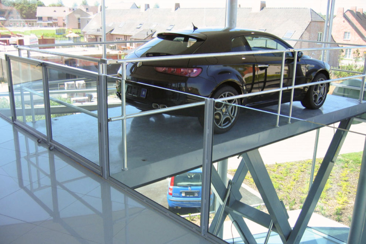 car lift table with black car