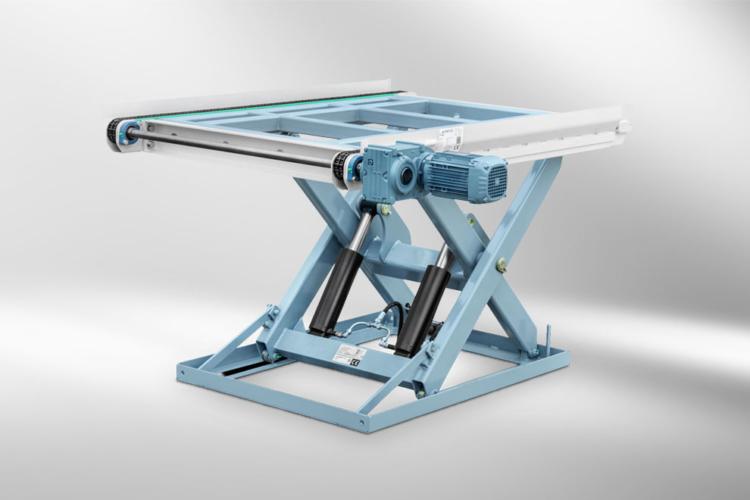 single scissors lift table blue