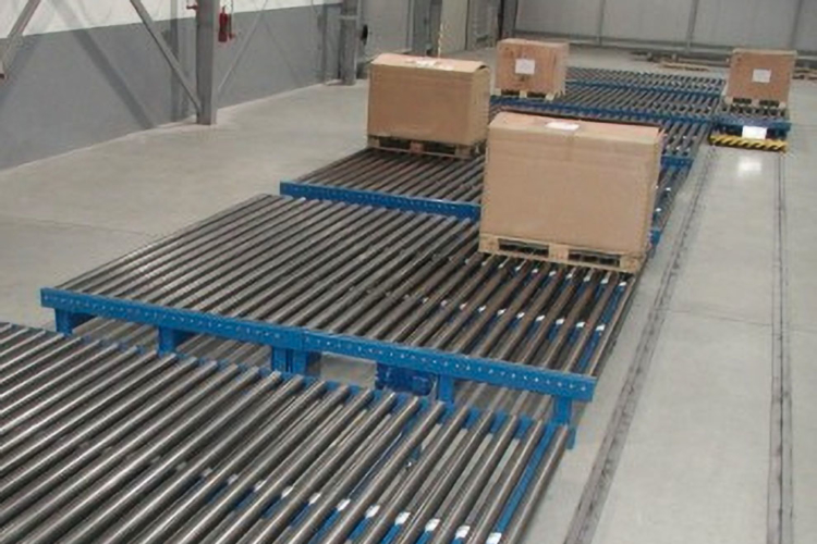 trolley with packages on pallets