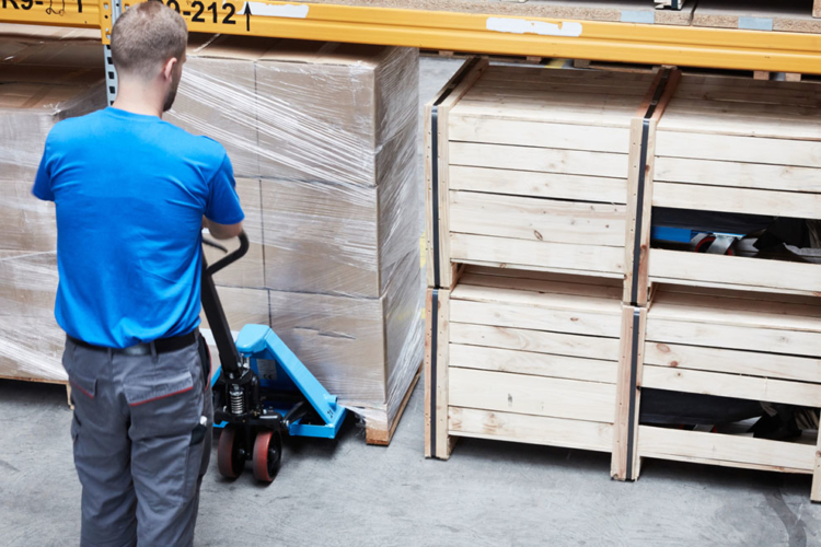 pallet truck application with pallets