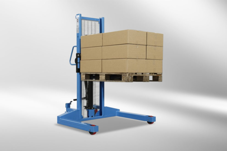 high lift truck transports pallet with packages