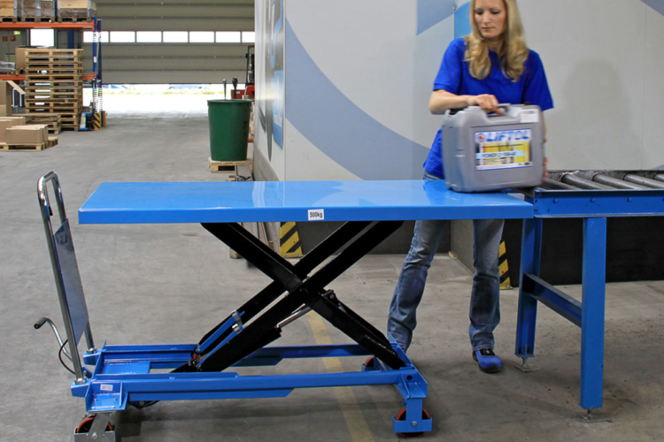 blue lift table transports goods
