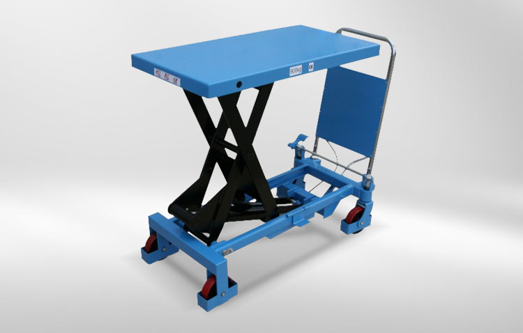 mobile lifting table blue